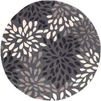 Carrie Hand-Tufted Gray Area Rug Rug Size: Round 8