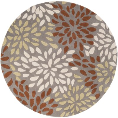 Carrie Hand-Tufted Rust/Lime Area Rug Rug Size: Round 8