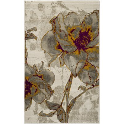 Daphne Ivory/Gray Area Rug Rug Size: Rectangle 6 x 9