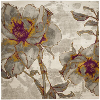 Daphne Ivory/Gray Area Rug Rug Size: Square 67