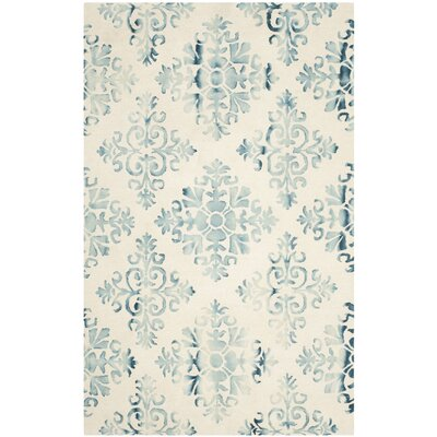 Carter Hand-Tufted Ivory/Light Blue Area Rug Rug Size: Rectangle 5 x 8