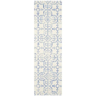 Carter Hand-Tufted Ivory/Blue Area Rug Rug Size: Runner 23 x 8