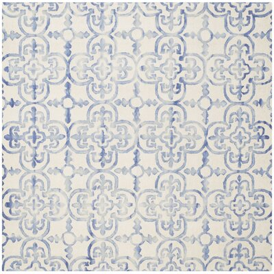 Carter Hand-Tufted Ivory/Blue Area Rug Rug Size: Square 7