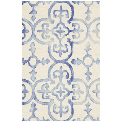 Carter Hand-Tufted Ivory/Blue Area Rug Rug Size: 2 x 3