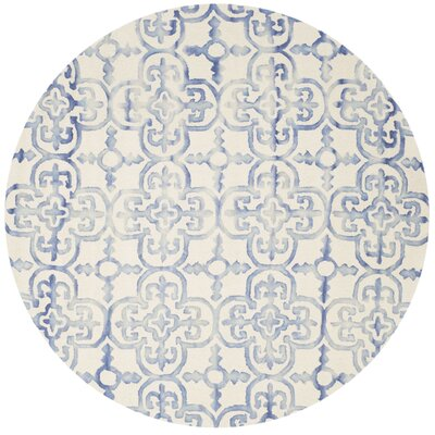 Carter Hand-Tufted Ivory/Blue Area Rug Rug Size: Round 7