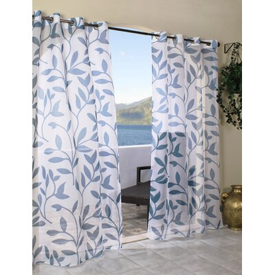 Edgerton Outdoor Leaf Grommet Single Curtain Panel