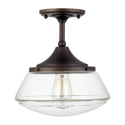 Savane 1-Light Semi-Flush Mount Finish: Burnished Bronze, Shade Color: Clear