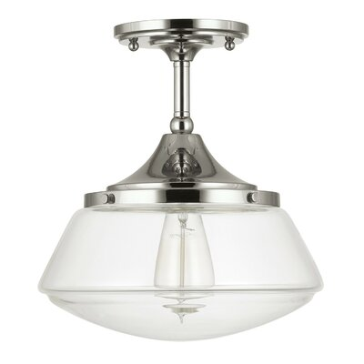 Savane 1-Light Semi-Flush Mount Finish: Polished Nickel, Shade Color: Clear
