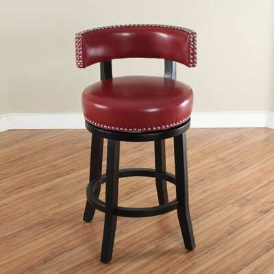 Cyril 26 Swivel Bar Stool Upholstery: Red
