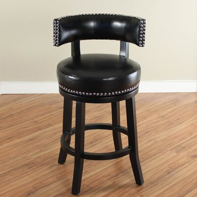 Cyril 26 Swivel Bar Stool Upholstery: Black