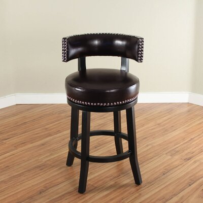 Cyril 26 Swivel Bar Stool Upholstery: Dark Brown