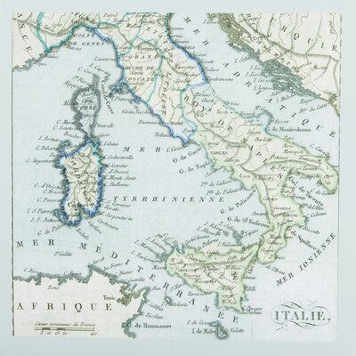 Map Italy Graphic Art on Canvas