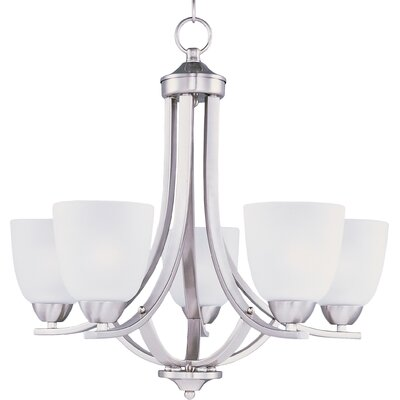 Hayden 5-Light Shaded Chandelier Finish: Satin Nickel