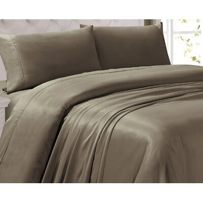 Oliver 300 Thread Count 4 Piece Sheet Set Color: Brown, Size: Queen