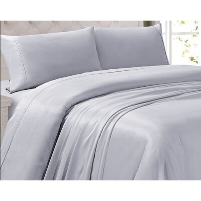 Oliver 300 Thread Count 4 Piece Sheet Set Color: Light Gray, Size: Queen