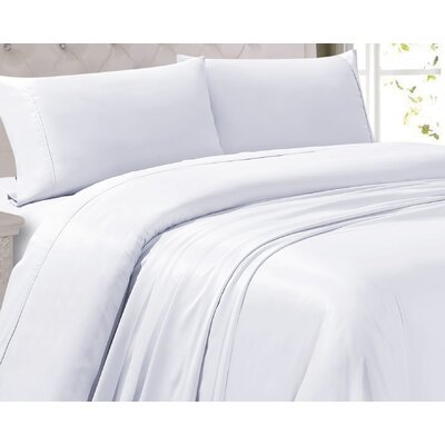 Woburn 300 Thread Count 4 Piece Sheet Set Size: King, Color: White