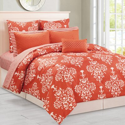 Corby 10 Piece Reversible Comforter Set Size: King