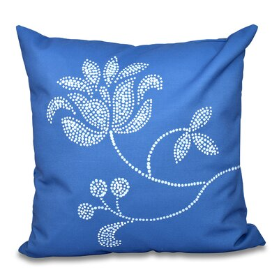 Maniteau Flower Bloom Print Throw Pillow Size: 20 H x 20 W, Color: Navy Blue