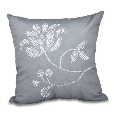 Orchard Lane Flower Bloom Print Throw Pillow Size: 18 H x 18 W, Color: Gray