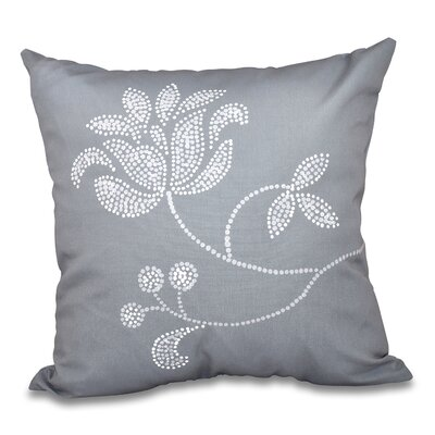 Orchard Lane Floral Bloom Outdoor Throw Pillow Size: 18 H x 18 W, Color: Gray