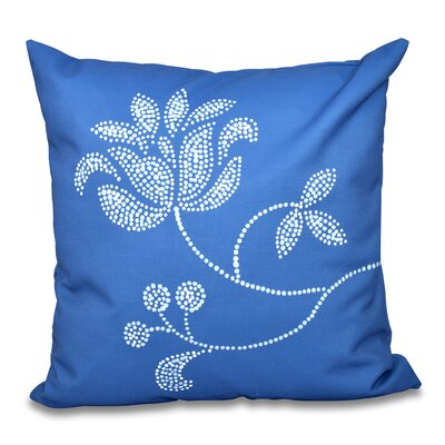 Orchard Lane Floral Bloom Outdoor Throw Pillow Color: Navy Blue, Size: 20