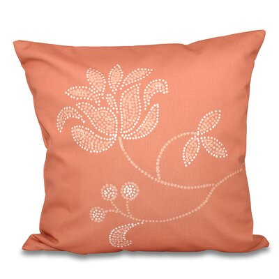 Maniteau Floral Bloom Outdoor Throw Pillow Size: 18 H x 18 W, Color: Coral
