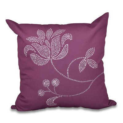 Maniteau Floral Bloom Outdoor Throw Pillow Size: 18 H x 18 W, Color: Purple