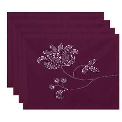 Orchard Lane Floral Bloom Print Placemat Color: Purple