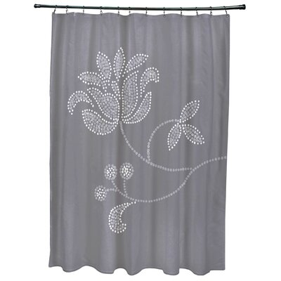 Orchard Lane Floral Bloom Print Shower Curtain Color: Gray