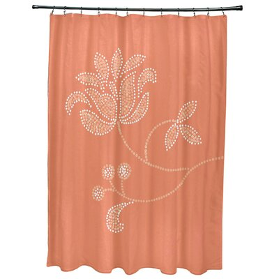Orchard Lane Floral Bloom Print Shower Curtain Color: Coral