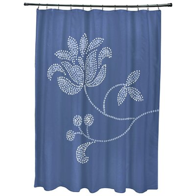 Maniteau Floral Bloom Print Shower Curtain Color: Navy Blue