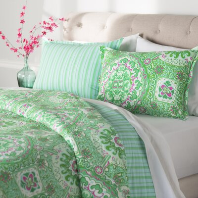 Corning Reversible Duvet Cover Set Color: Bright Green / Bright Pink, Size: Twin