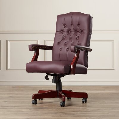 Kirkland High-Back Leather Executive Chair Upholstery: Burgundy
