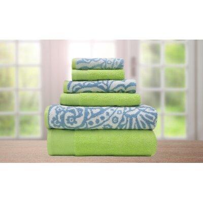 Libby 6 Piece Superior Combed Cotton Towel Set Color: Mauve / Gray