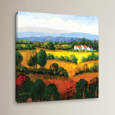 Golden Hills Painting Print on Wrapped Canvas