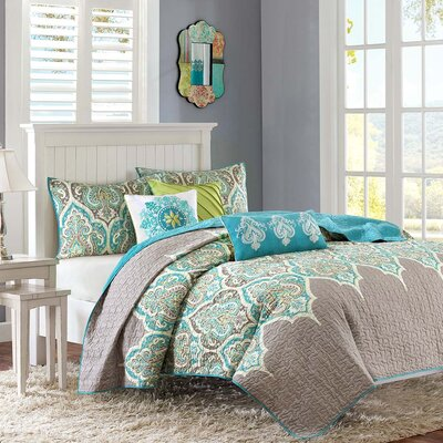 Sebring 6 Piece Quilted Coverlet Set Color: Teal, Size: King/California King