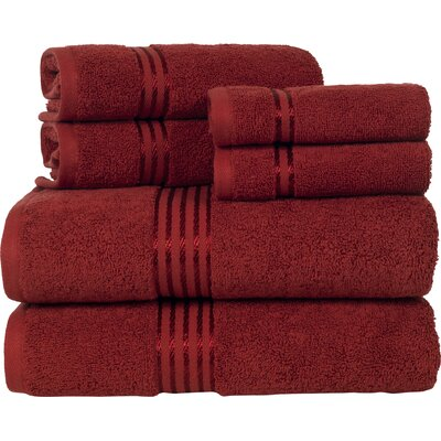 Parris 6 Piece Towel Set Color: Brick Red