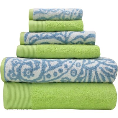 Libby 6 Piece Towel Set Color: Blue / Lime