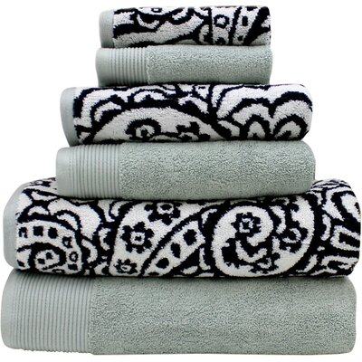 6 Piece Towel Set Color: Black / Gray