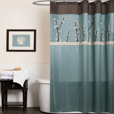 Oak Lane Shower Curtain Color: Blue/Brown