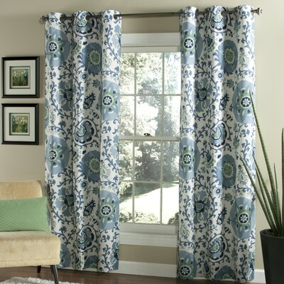 Duncombe Grommet Window Curtain Panels Color: Indigo