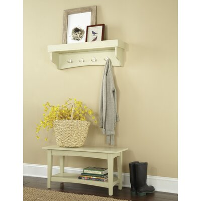 Bel Air -Piece Hall Tree Coat Hook and Bench Set Color: Sand