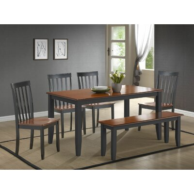 Ann 6 Piece Dining Set Finish: Black / Cherry