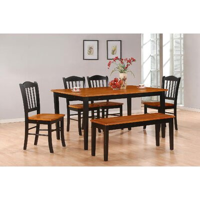 Windham 6 Piece Dining Set Finish: Black and Oak