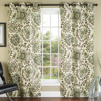 Duncombe Grommet Window Curtain Panels Color: Green
