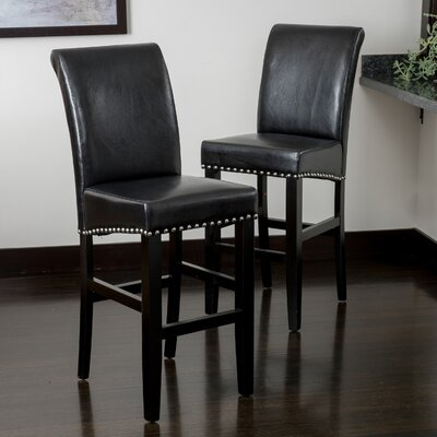 Shaws 30 Bar Stool Upholstery: Black
