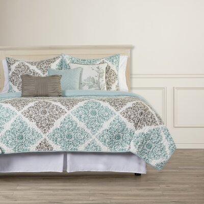 Avebury 6 Piece Coverlet Set Size: King / California King, Color: Aqua/Gray