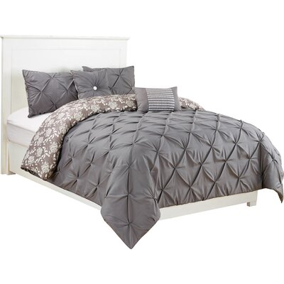 Danville 5 Piece Reversible Comforter Set Color: Gray, Size: King