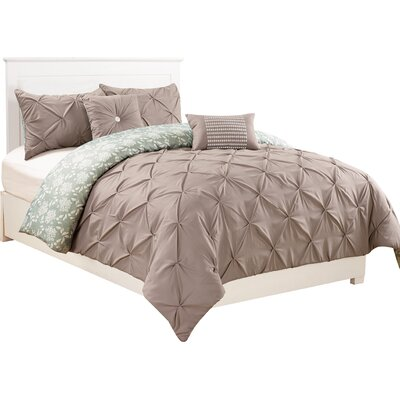 Danville 5 Piece Reversible Comforter Set Color: Green/Taupe, Size: King