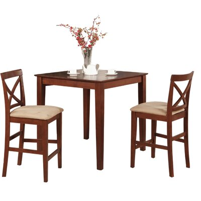Pleasant View 3 Piece Counter Height Bistro Set Finish: Dark Brown